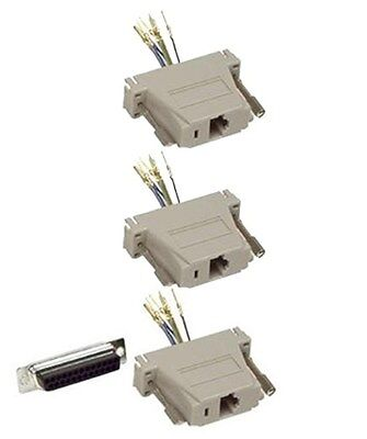Lot of 5 DB25 Female to RJ11//12 Phone Line 6P6C 28AWG Modular Converter Adapter