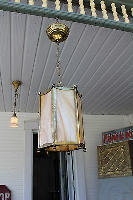 Antique Slag Glass 6 Side Mission Porch /hall Pendant Light Fixture Hanging Lamp