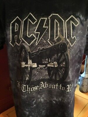 AC/DC For Those About To Rock T-shirt Size M Black Grey Tie Dye