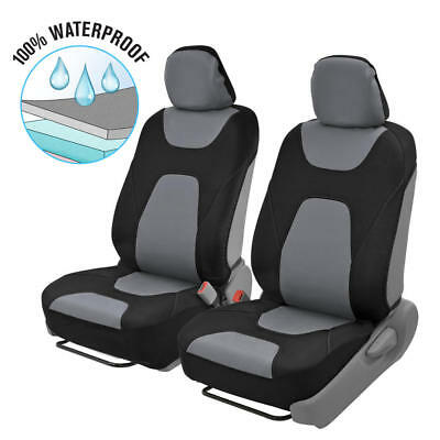 2pc Front Car Seat Covers 100% Waterproof Polyester/Neoprene Black/Gray 2Tone