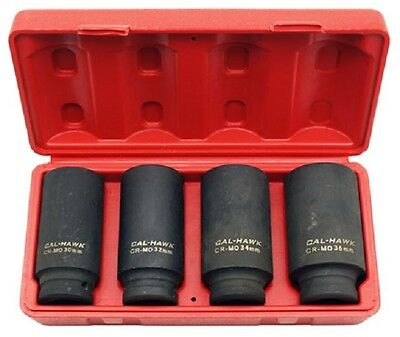 """4 Pc 1/2"""" Drive Deep Spindle Axle Nut Socket Set 6 Point MM 30mm 32mm 34mm 36mm"""