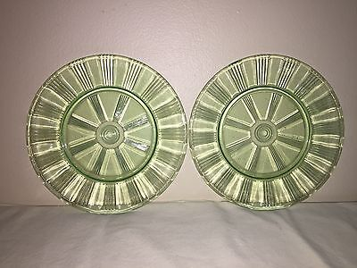 green depression vaseline uranium glass pinwheel wheel rim plate dish lot 2