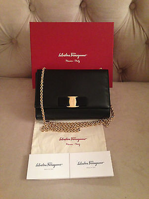 13791a5f6491 SALVATORE FERRAGAMO MINI MISS VARA BOW Crossbody Shoulder Bag - BLACK GOLD  - NWT