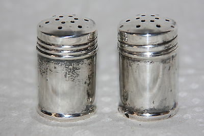 Vintage Pair of Mini Sterling Silver Salt and Pepper Shakers Screw On Cap