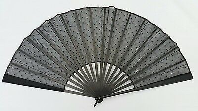 Vtg Antique Victorian Large Hand Ebonised Wood & Black Sequin Lace Mourning Fan