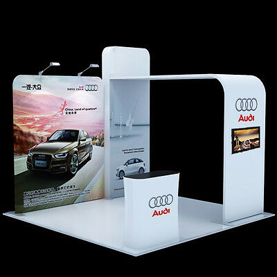 10ft trade show display kits with TV mount Counter Custom graphic printing Booth