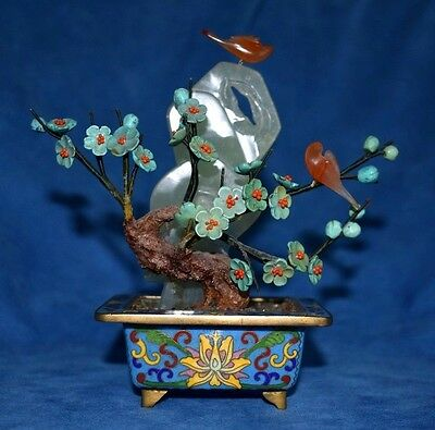 Beautiful Vintage Chinese Cloisonne Planter Turquoise Flowers Jade Bonsai Tree