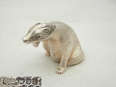 RARE QE II HM STERLING SILVER SITTING BADGER STATUE 8.3 oz