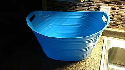 Large Pail Cooler Ice Beer Soda Bottle Bucket Dark Blue Oval Party Drinks