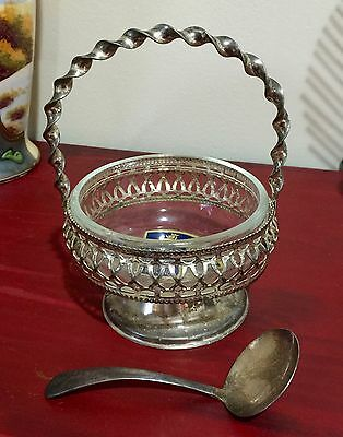 hand-made crystal silver-plate sugar jelly dish bowl basket spoon Brama England