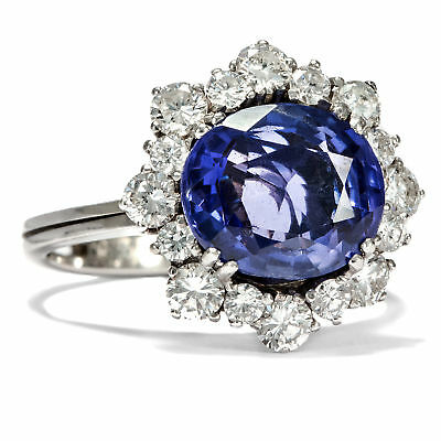 Märchenhaft blauer Saphir (4,30 ct) Ring, Brillanten Weißgold Saphirring no heat