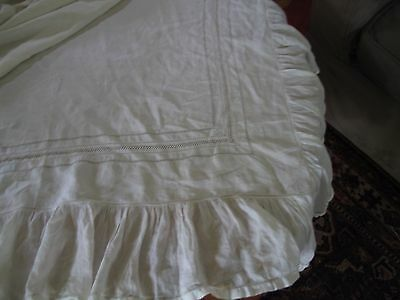 ANTIQUE LINEN TOP SHEET WITH SHIRRED FLOUNCE AND DRAGON MONOGRAM  M  drawn work