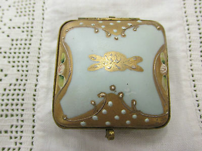 Antique Japanese Porcelain Robins Egg Blue Gold MORIAGE Trinket Pill Snuff Box
