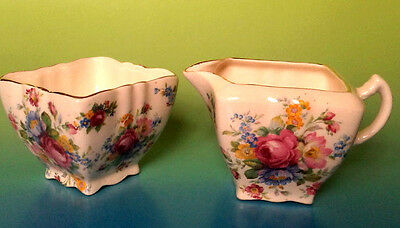 James Kent Floral Cnintz 1930s Kendal Pink Rose Creamer AND Sugar Bowl Pattern