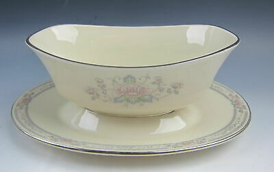 Lenox China CHARLESTON Gravy Boat w/ Attached Under Plate EXCELLENT