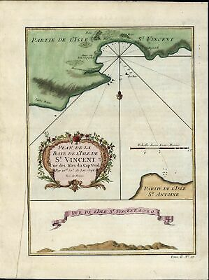 Sao Vicente St. Vincent Cape Verde Islands Portugal 1746 Didot antique map