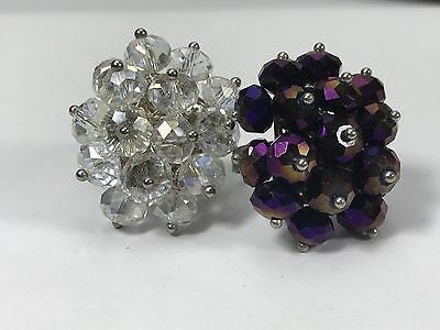 Lot of Two Faceted Purple Gold and Clear AB Crystal Cluster Beaded Cocktail Ring