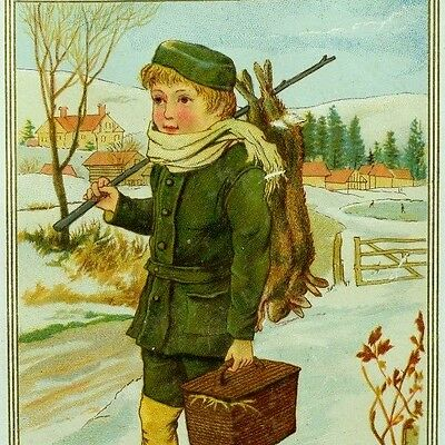 1870's-80's Boy Snow Dead Rabbits Hunting Lovely Christmas Victorian Card *B