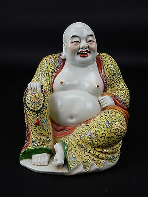 Antique Chinese Famille Rose Buddha Statue Imprinted Mark 7 inches