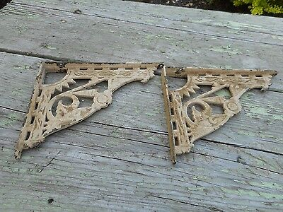 PAIR Antique OLD Vintage Cast Iron Wall Hanging SHELF Brackets REPURPOSE DECOR