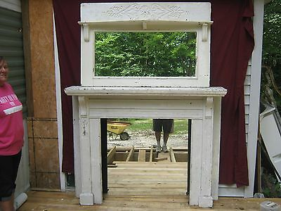 Antique  Oak Fireplace Mantel Painted