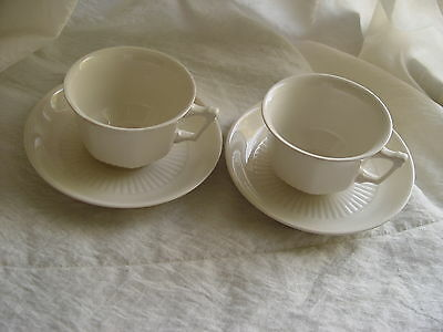 Antique Set of 2 Tea Cups and Saucers Adams English Ironstone,Off White England