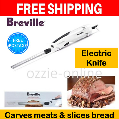 Breville Electric Knife Meat Roast Carving Knife Bread 2x Blades Stainless Steel