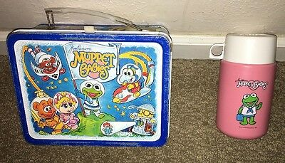 Jim Henson's Muppet Babies Vintage Metal Lunchbox Lunch box Thermos 1985 Pink