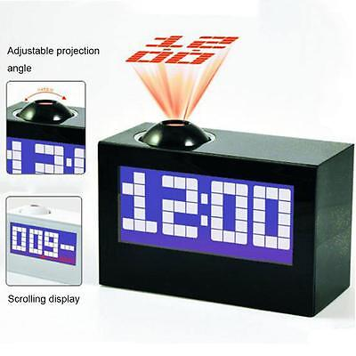 Digital Snooze Alarm Clock Backlight Wall Projector Projection Clocks Temperatur