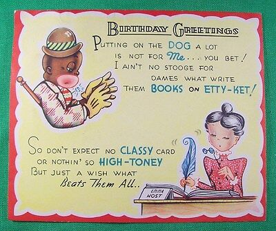 Racist Black Americana 1950s BIRTHDAY GREETING CARD African American Stereotype