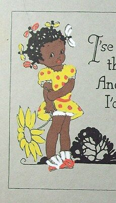 Racist Black Americana 1930s GREETING CARD African American Girl Stereotype Dog