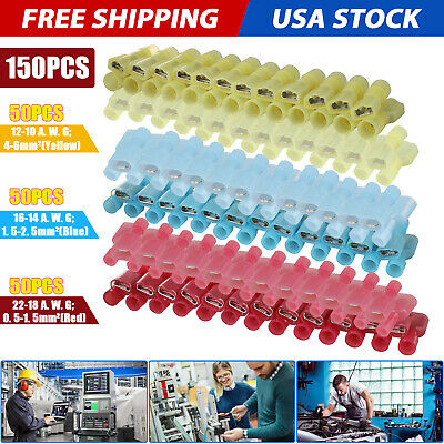 150x Male & Female Insulated Wire Spade Terminal Crimp Connector 10-22 Gauge US