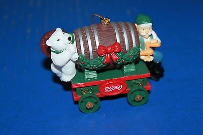 Cute Coca Cola Christmas Ornament Elf & Polar Bear With Barrel