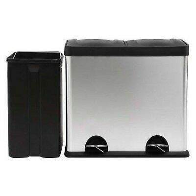 New 60L Dual Pedal Compartment Stainless Steel Kitchen Waste Garbage Rubbish Bin