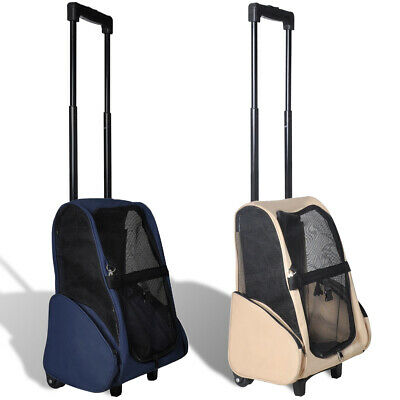 New Beige/Blue Foldable Pet Trolley Bag Carrier Stroller Dog Cat Travel Washable