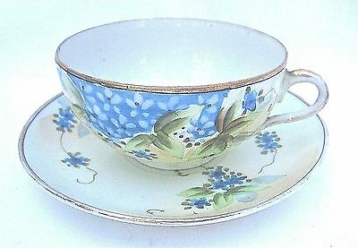 Vintage Signed Nippon Japan PORCELAIN CUP & SAUCER HAND PAINTED Gilt