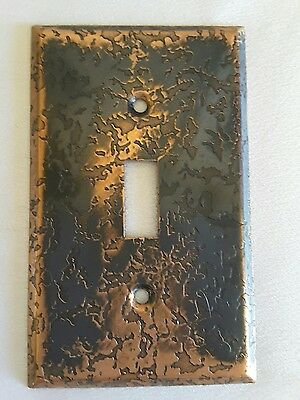 Vintage Metal Brass Light Single Switch Plate Cover~Hammered~Melted