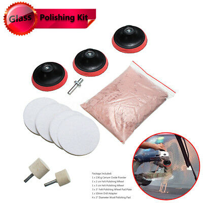8 / 11Pcs Cerium Oxide Glass Polishing Kit Windscreen Scratch Remover Repair 3""