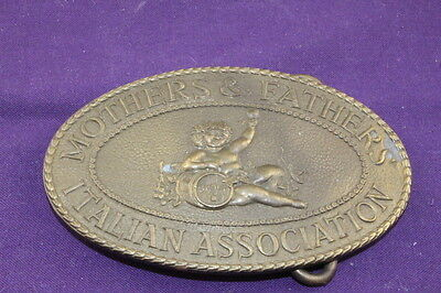 Vintage Brass Belt Buckle  Mother & Father Italian Association