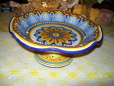 Deruta Italian, Hand Painted Pottery Compote, Large, Lovely Figural Design