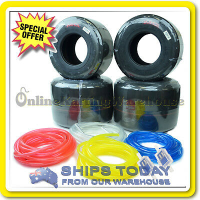 GO KART TYRES MG RED FULL SET with 3M FUEL LINE and 2x CONE FUEL FILTERS