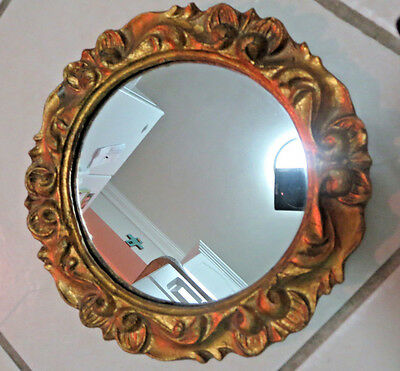 Round Italy Gold Carved Wood Wall Mirror Guesso Gilt Vintage Italian