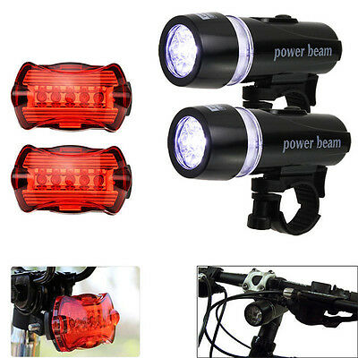 5 LED Lamp Bike Bicycle Front Head Light +Rear Safety Waterproof Flashlight WF