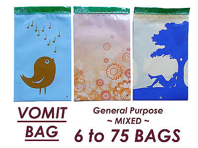 Vomit Bags General All Purpose Sickness Bags Kit Cute Stylish Strong Press Seal
