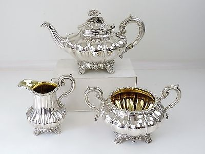 Superb GEORGIAN SILVER GILT TEA SET, London 1835/36 3-piece TEAPOT SERVICE 1610g