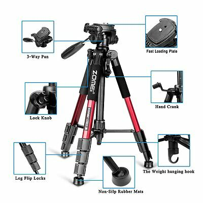 Zomei 55'' Portable Light Weight  Traveler  Tripod Stand For Canon Nikon Sony