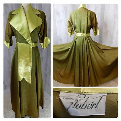 Vintage 1930-40s Chartreuse Satin Dressing Gown Robe Dress~Flobert Nightgown S/M