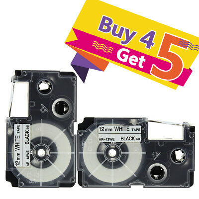 2PACK Compatible Casio XR-12WE Black on White 1/2'' Label Tape EZ-Series Printer