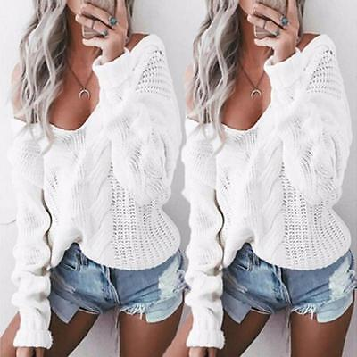 Women Long Sleeve V-Neck Twisted Sweater Jumper Knit Tops Blouse Shirts Pullover