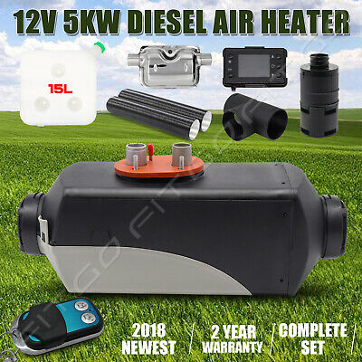 12V 5KW Diesel Air Heater Tank ,Vent, Duct ,Thermostat,Exhuast Silencer Caravan